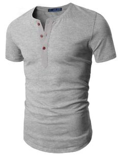 Black Friday Doublju Mens Henley T-shirts with Short Sleeve GRAY (US-M) from Doublju Cyber Monday