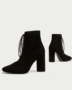 ZARA - WOMAN - LACE-UP VELVET HIGH HEEL ANKLE BOOTS