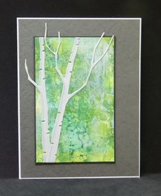 handmade card: Walk in the Woods by hobbydujour ... gray base ... watercolor look panel ... die cut birch trees in white ... lovely card