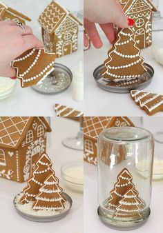 butter hearts sugar: Gingerbread house, both gingerbread and sugar cookie - Snow Globe Christmas Cooking, Christmas Desserts, Christmas Treats, Gingerbread Decorations, Gingerbread Cake, Dessert Party, Paletas Chocolate, Ginger Bread House Diy, Christmas Gingerbread House