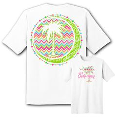 Get ready for summer with this beautiful white Carolina Girl t-shirt.  It features a beautiful Chevron Patterned Palmetto Tree and Moon. #UndertheCarolinaMoon