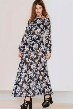 Black White Chiffon Floral Print Long Sleeve Casual Dress #Black #Dress #maykool
