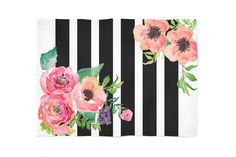 This beautiful and elegant Black & White Stripes Floral fleece blanket looks amazing and is luxurious. This soft, fluffy, and cozy blanket is perfect for snuggling on the couch, keeping warm inside an