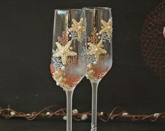 Personalized Beaded Champagne Glasses Crystal by UnSempliceSi