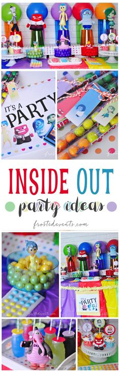 Inside Out Party Ideas and Inspiration via /frostedevents/   Check out this cute Inside Out dessert table and fun party decoration and favor ideas   Disney Movie theme party  /disneynews/