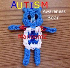 Rainbow Loom Autism Awareness Bear (MarloomZ Creations)