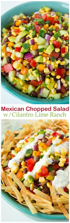 Mexican Chopped Salad with Greek Yogurt Cilantro Lime Ranch - this salad is so healthy and so delicious!! It has avocados, cucumbers, tomatoes, fresh corn, orange peppers, red onion and black beans and a delicious (lighter) Cilantro Lime Greek Yogurt Dressing and oven baked tortilla strips. TRY IT!