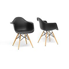 Pascal Black Plastic Mid-Century Modern Shell Chair (Set of 2) $165 Great for Desk chair or just around the house!