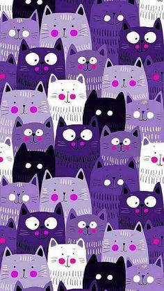 Trendy Ideas For Cats Wallpaper Iphone Purple Kitty Wallpaper, Animal Wallpaper, Pattern Wallpaper, Wallpaper Backgrounds, Iphone Wallpaper, Cat Background, Background Patterns, Super Cat, Most Beautiful Wallpaper