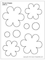 Ten free printable flower shape sets to use as craft patterns, coloring pages, or for flower-themed crafts and learning activities. Free Paper Flower Templates, Flower Petal Template, Templates Printable Free, Leaf Template, Flower Template Printable, Balloon Template, Pattern Flower, Felt Flower Wreaths, Burlap Flowers