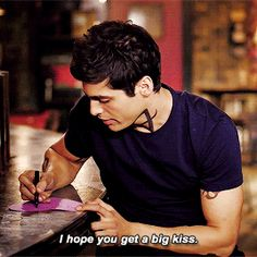 """Matthew Daddario and his Valentine's Card ♡ """"Hey Valentine, I hope you got a big kiss on this day!  From a train, a fast train. Love you, Alec"""""""