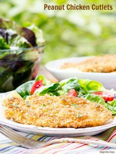 These Peanut Chicken Cutlets have a crispy, crunchy crust made of panko breadcrumbs and chopped peanuts. They cook in minutes for a speedy weeknight meal.