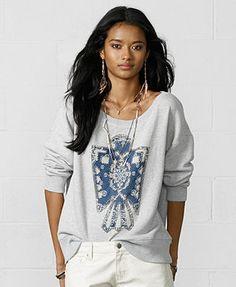 Denim \u0026 Supply Ralph Lauren Scoop-Neck Appliqu�d Sweatshirt