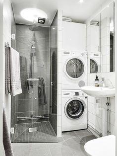 123 Interesting And Detailed Tiny House Bathroom Shower Design Ideas Laundry Bathroom Combo, Tiny House Bathroom, Tiny Bathrooms, Laundry Room Storage, Laundry Room Design, Downstairs Bathroom, Small Bathroom, Bathroom Ideas, Bathroom Showers