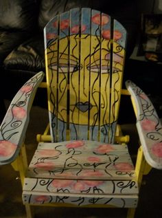 Hand Painted Adirondack Chair And Ottomans | Pinterest | Ottomans, Tables  And Etsy