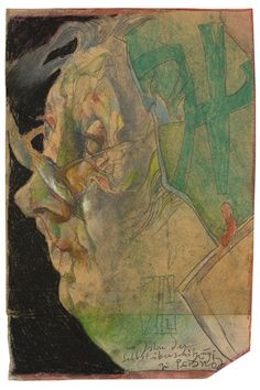 Horst Janssen, Old Man Face, Colored Chalk, Artist Sketchbook, Portrait Art, Portraits, Art Museum, Painting & Drawing, Illustrators