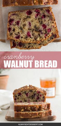 A little tangy, a little crunchy, and totally delicious, this cranberry walnut bread is an easy sweet bread recipe that's perfect for the holidays! Holiday Bread, Christmas Bread, Christmas Dishes, Holiday Baking, Christmas Recipes, Baking Recipes, Cake Recipes, Dessert Recipes, Desserts