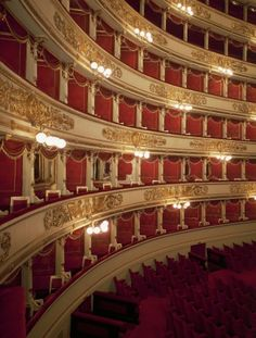 Detail of four tiers of La Scala Theatre in Milan, architectural design by Giuseppe Piermarini (1734-1808) Italy, 1776-1778