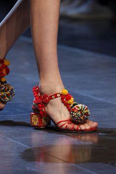 Pom Pom sandal by Dolce & Gabbana SS2016.  Shop our Sicily Bags and spread the Pom Pom love. sicilybag.com