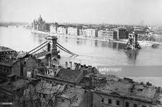 An aerial view of the Chain Bridge over the Dunabe River destroyed by German troops in the Second World War. Budapest, Collection Company, Second World, Aerial View, World War Two, Troops, Fine Art America, Paris Skyline, Bridge