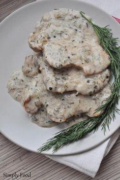 Zdjęcie: Schab w sosie śmietanowo-koperkowym Calzone, Mashed Potatoes, Pizza, Chicken, Meat, Ethnic Recipes, Food, Whipped Potatoes, Smash Potatoes