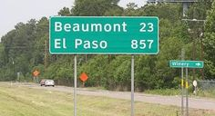 This road sign is proof how big Texas is.  Photo taken on I- 10 East of Houston near Winnie, Texas.  Go west on I-10 on your way to California and after half the trip......you will still be in Texas.