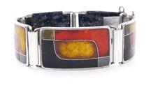 BUNGE vintage EMAILLE Email enamel Armband bracelet Perli Schibensky ära 50er