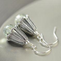 Sterling silver Green Amethyst bali earrings