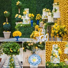 Mediterranean Theme Bridal Shower Ideas - You and Big Day Wedding Themes, Wedding Styles, Wedding Decorations, Dinner Themes, Party Themes, Party Ideas, Lemon Centerpieces, Lemon Party, Festa Party