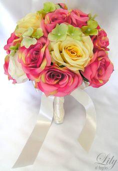 Best flowers for a July wedding   silk flowers wedding bouquet