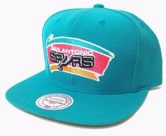 64a733188fb Unworn Mitchell-and-Ness SAN ANTONIO SPURS SNAPBACK HAT Teal Vtg-Logo Men
