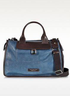 Blue and Bown Leather Weekender Bag - The Bridge