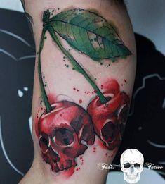Rare Cherry Skull Tattoo