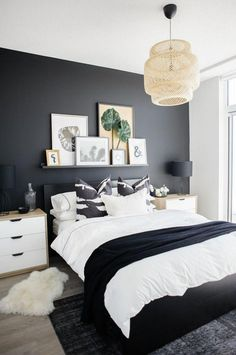 Black bed with white furniture Glossy Black Master Bedroom Interior Design Ideas 30 Condo Bedroom Master Bedroom Interior White Residence Style White Grey And Black Ikea Bedroom Using Hemnes For The Home In