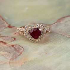 Rose Gold Solid 14K Diamond Halo Engagement Ring by EJCOLLECTIONS
