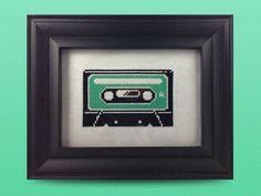 Cassette Tape Cross Stitch Pattern by HugsAreFun on Etsy