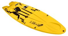 Stand-up paddleboard with locking hinges folds up for easy home and car storage, carrying and travel; bundle strap holds folded board closed SUP un-locks to fold out to extended position for set-up and use; includes carrying strap, SUP leash and 3-pc aluminum paddle that nests in the board Rotational molding construction makes this board sturdy, ding and dent resistant