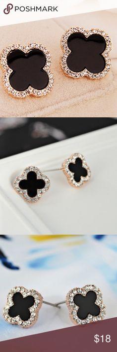 Sale Black clover 18k gold rhinestone earrings nwt Black clover 18k gold plated rhinestone earrings nwt Jewelry Earrings