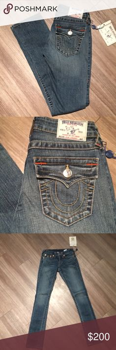 """NEXT True Religion Straight Leg Jeans New With Tags medium wash straight leg Trie Religion jeans. Light feathered wash at hips, classic TR stitching with buttoned pockets. 24"""" waist, 7"""" rise and 33"""" inseam with a slight stretch to the denim. True Religion Jeans Straight Leg"""