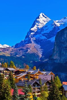 Murren, in the Swiss Alps, with the Eiger Mountains behind, Canton Bern, Switzerland. I must go there before I die. Beautiful Places To Visit, Wonderful Places, Beautiful World, Amazing Places, Places Around The World, The Places Youll Go, Places To Go, La Provence France, Swiss Alps