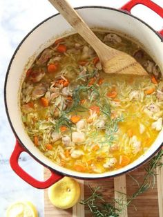 A one-pot dinner is a must-make meal for any new mom and dad. And with a lemony twist on the classic chicken and rice soup—this time with orzo pasta that helps thicken this flavor-filled cooking bonanza— Lemon Chicken Stew Soup Recipes, Chicken Recipes, Dinner Recipes, Cooking Recipes, Healthy Recipes, Detox Recipes, Detox Meals, Casserole Recipes, Asian Desserts