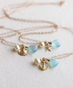 Bleu Briolette Necklaces14K or rempli cadeau d'été par MakiYDesign