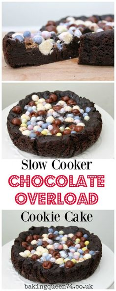 Slow Cooker Chocolate Overload Cookie Cake, use your Easter chocolate in this rich and indulgent bake! Chocolate Cookie Dough, Tasty Chocolate Cake, Easter Chocolate, Halloween Chocolate, Chocolate Lovers, Best Dessert Recipes, Easy Desserts, Cookie Recipes, Delicious Desserts