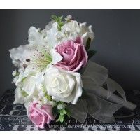 Bridesmaid Bouquets - Tiger Lilies Roses Gyp & Foliage - Personalise - Choose Rose Colours & Embellishments Pink Wedding Theme, Rose Wedding Bouquet, Bridal Flowers, Uk Bride, Pink Color Schemes, Gypsophila, Tiger, Artificial Flowers, Flower Designs