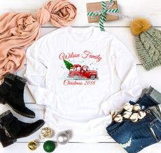Christmas 2018 matching Family Long Sleeve shirt with Your Custom Name,Family Matching shirts from 6 Months Onesie up to Adults by Bachelorettees on Etsy Christmas Shirts, Family Christmas, Ugly Christmas Sweater, Christmas 2019, Matching Shirts, Holiday Photos, Family Shirts, Disney Trips, Vacation Trips