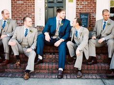 navy + taupe suits for the gents | Perry Vaile #wedding