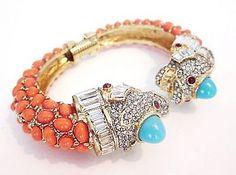 KJL Kenneth J Lane Bulgari-inspired Diamante Coral Cabochon Double Koi Fish Bracelet