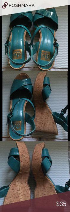 """DOLCE VITA TURQUOISE WEDGES/SIZE 8 1/2 Shiny turquoise 4"""" wedges by Dolce Vita. In good condition. DV by Dolce Vita Shoes Wedges"""
