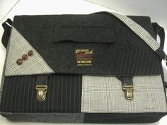 Recycled Suit Coat Messenger Bag