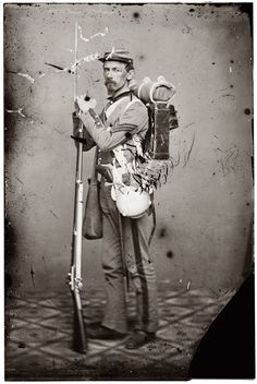 Sgt. Joseph Dore, 7th New York State Militia. Carrying full Goverment-Issued equipment and a Model 1855 Springfield Rifled-Musket. The 7th N.Y.S.M. was on duty in New York City during the 1863 Draft Riots.